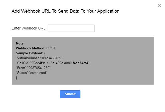 Add Webhook Url to send data