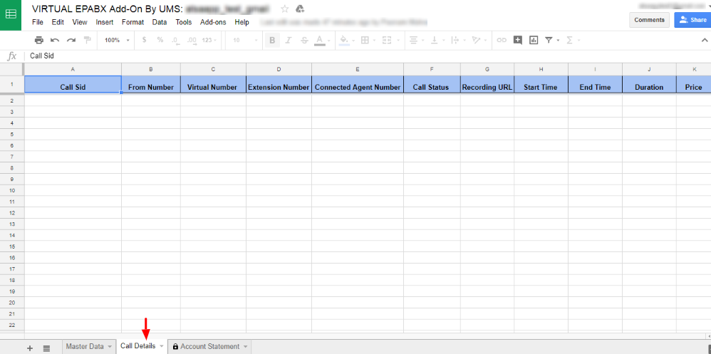 Virtual EPABX Details in sheet